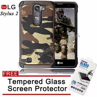 Camouflage Armor Defender Silicone TPU Case for LG G4 Stylus 2(Brown) with Free