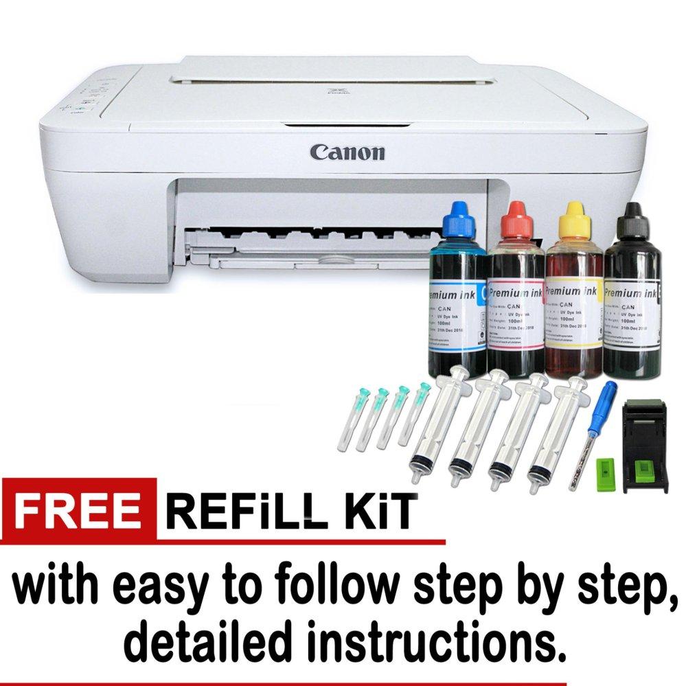 canon pixma mg2522 color print copy scan w free 1 set refill kit