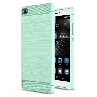 Carbon Fiber Pattern Slim Fit Soft TPU Back Cover For Huawei P8(Mint Green) - intl