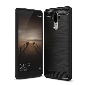 Carbon Fiber Texture Soft TPU Back Cover For Huawei Mate 9 (Black)- intl