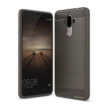 Carbon Fiber Texture Soft TPU Back Cover For Huawei Mate 9 (Grey) - intl