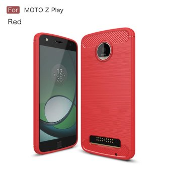 Carbon Fibre Brushed TPU Phone Case for Motorola Moto Z Play - Red- intl