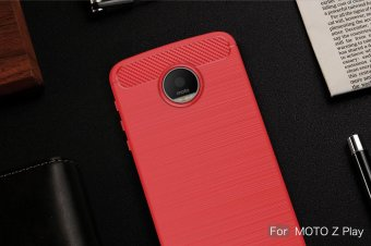 Carbon Fibre Brushed TPU Phone Case for Motorola Moto Z Play - Red- intl - 2