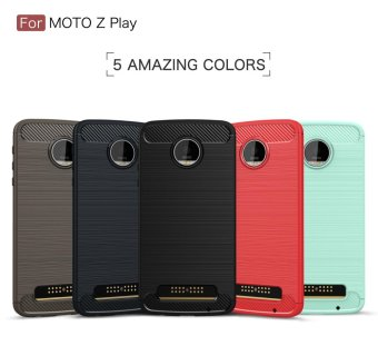 Carbon Fibre Brushed TPU Phone Case for Motorola Moto Z Play - Red- intl - 3
