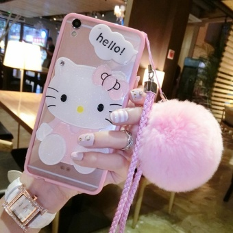 Cartoon cute mirror Case For OPPO A59/F1s(pink+Hair ball KT) - intl