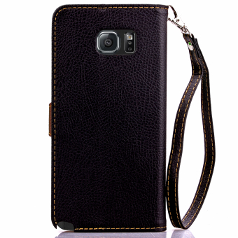 Case for Samsung Galaxy Note 5 Leather Flip Stand Case Cover Wallet - Black - 3