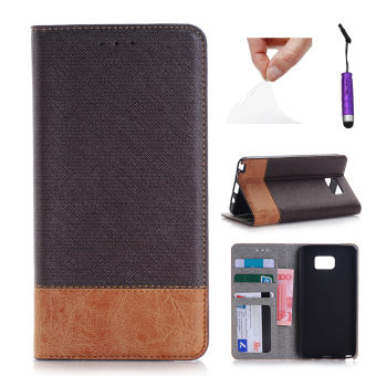 Case for Samsung Galaxy Note 5 PU Leather Flip Case Wallet with Stand Function - Coffee