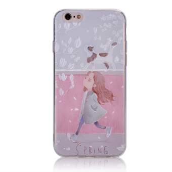 Cases for Apple iPhone 5 / 5S / SE 4 inch iOS Smartphone -Beautiful Spring Girl and Cat 3D Dimensional Relief PatternSilicone Gel TPU Mobile Phone Soft Cover Case - intl