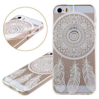 Cases for Apple iPhone 5 / 5S / SE 4 inch iOS Smartphone - WhiteClear Lace Floral Dream Catcher Campanula Design Printing PatternTransparent TPU Mobile Phone Soft Cover Case - intl