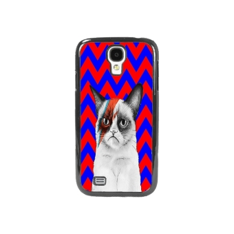 Cat Pattern Phone Case for Samsung Galaxy S4 (Blue/Red)