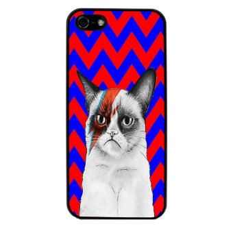 Chevron Grumpy Cat Pattern Phone Case for iPhone 4/4S (Black) - picture 2