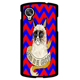 Chevron Grumpy Cat Pattern Phone Case for LG Nexus 5 (Black)