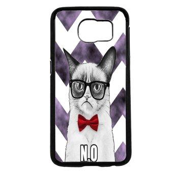 Chevron Grumpy Cat Pattern Phone Case For Samsung Galaxy S6 (Black)