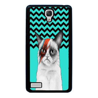 Chevron Grumpy Cat Pattern Phone Case for Xiaomi Redmi Note (Black)