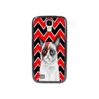Chevron Grumpy Cat Phone Case for Samsung Galaxy S4 (Black)