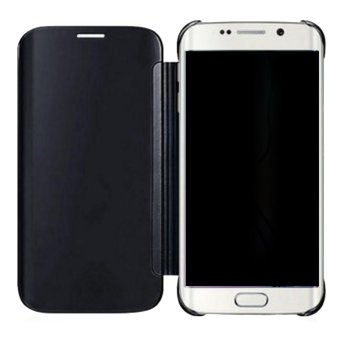 Clear Flip View Cover for Samsung Galaxy S7 Edge (Black) - 4