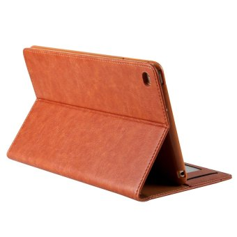 CMAI2 Leather Flip Photo/Card Slots Tablet Cover Case for iPad Air2 - Brown - intl - 3