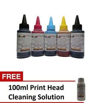 Colormatic Professional Ink Bottle for Epson 100ml Package(Multicolor) with Free 100ml Print Head Cleaning Solution