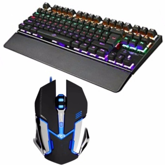 (COMBO)87Keys Backlight Mechanical Gaming Keyboard and st-18 mouseblack