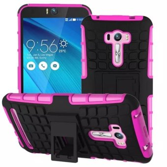 Compatible for Asus ZenFone Selfie Dual Layer 2 in 1 Rugged Rubber Hybrid Protective Armor Phone Cover Case with Kickstand VROOM - intl