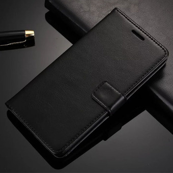 Crazy Horse Skin Wallet Retro Flip Leather Case With Card SlotsHolder For Samsung Galaxy Note 2 II N7100 (Black)