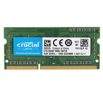 Crucial 4GB DDR3 1600MHz PC3-12800 1.35V CL11 204 Pin SODIMMNotebook Laptop Memory RAM CT51264BF160B