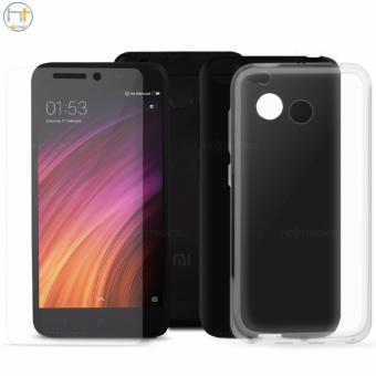 Crystal Clear Tempered Glass with 2 Jelly Case Clear & Black for Xiaomi Redmi 4X