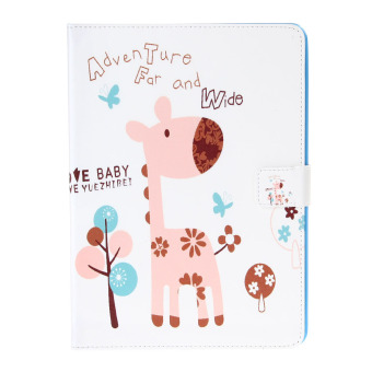 Cute Deer Pattern Protective PU Leather Cover for iPad6 - (Multicolor)