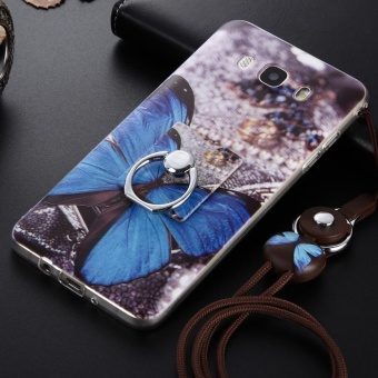 Cute Pattern Soft TPU Bumper Case Cover for Samsung Galaxy J7(2016) J710 Flexible with Ring Grip/Stand Holder and Wrist Strap