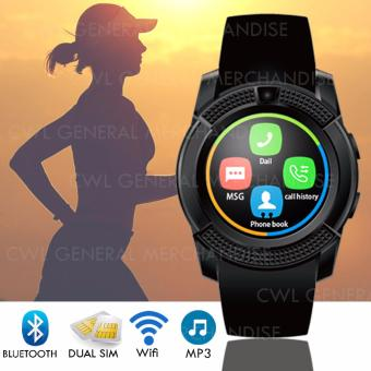 CWL- V8 Smart Watch Clock With Sim TF Card Slot BluetoothConnectivity for Android and iOS (Black)