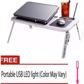 Deluxe E-Table Laptop Cooler With FREE Portable USB LED Light(Color May Vary)