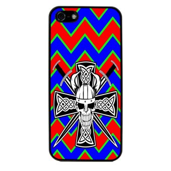 Devil Cross Chevron Pattern Phone Case for iPhone 4/4S (Black)