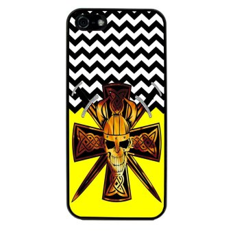 Devil Cross Chevron Pattern Phone Case For iPhone 4/4S (Black)