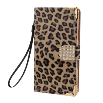 Diamond Leopard Leather Flip Wallet Case for Samsung Galaxy Note 4Gold - intl