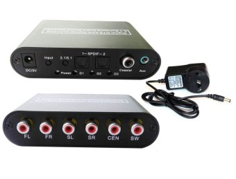 Digital Optical Audio To 5.1 2.1 Channel Stereo Analog RCA Converter AC3 DTS