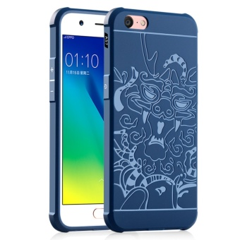 Dragons Silicone Soft Rubber Slim Back Case for OPPO A57/A39(Blue) - intl