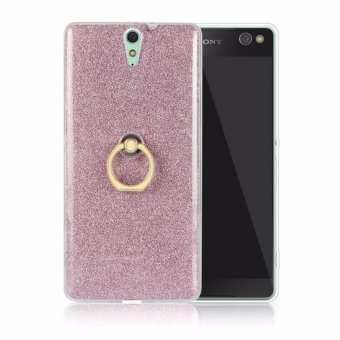 Detail Images Drop Resistance Metal Ring Stand TPU Phone Case Cover for SonyXperia C5 Ultra (Pink) - intl Ubdate