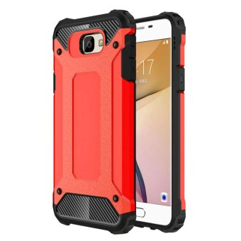 Dual Layer Case For Samsung Galaxy J7 Prime / On7 2016 Hybrid TPUPC Heavy Duty Armor Shock Absorbing Protective Cover Red