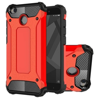 Dual Layer Case For Xiaomi Redmi 4X Hybrid TPU PC Heavy Duty ArmorShock Absorbing Protective Cover Red - intl