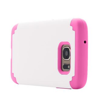 Dual Layer Protective Case Cover for Samsung Galaxy S7 Edge(White/Pink) - 3