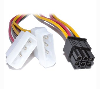 Dual Molex LP4 4 pin to 6 pin PCI-E Express Converter Adapter PowerCable
