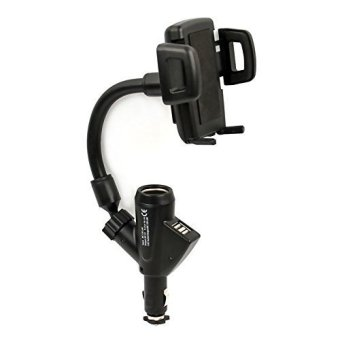 Dual USB Port Car Mount Cell Phone Charger (Black)