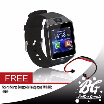 DZ-09 Smartwatch (Black) Free (Red Sport Stereo Wireless Bluetooth)