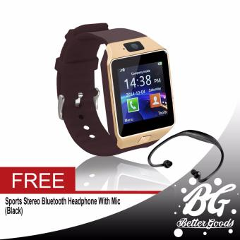 DZ-09 Smartwatch (Gold) Free (Black Sport Stereo Wireless Bluetooth)