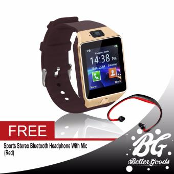 DZ-09 Smartwatch (Gold) Free (Red Sport Stereo Wireless Bluetooth)