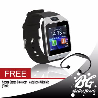 DZ-09 Smartwatch (Silver) Free (Black Sport Stereo Wireless Bluetooth)