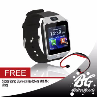 DZ-09 Smartwatch (Silver) Free (Red Sport Stereo Wireless Bluetooth)