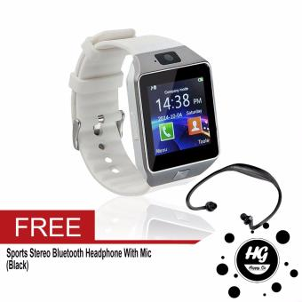 DZ-09 Smartwatch (White) Free (Black Sport Stereo WirelessBluetooth)