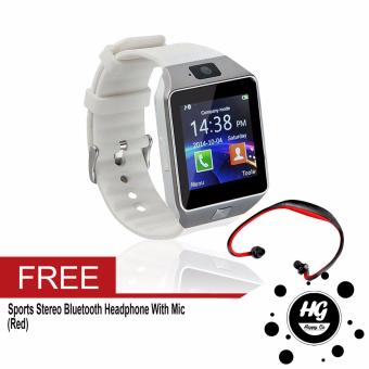 DZ-09 Smartwatch (White) Free (Red Sport Stereo Wireless Bluetooth)