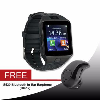 DZ-09A1/M8/M9/U8 Phone Quad Smartwatch (Black) Free (S530 BluetoothIn-Ear Earphone)